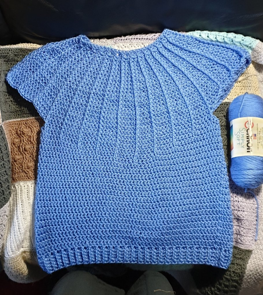 Part finished Luna Sweater and the yarn used